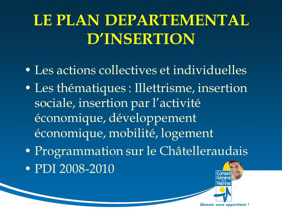 LE PLAN DEPARTEMENTAL D'INSERTION
