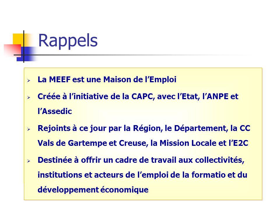 Rappels La MEEF est une Maison De l'Emploi Labellisée en janvier 2006