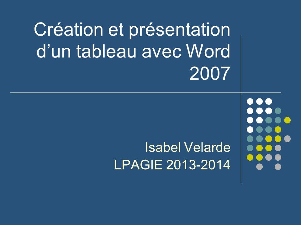 Création et présentation d'un tableau avec Word 2007