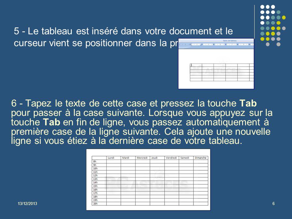 5 - Le tableau est inséré dans votre document et le curseur vient se positionner dans la première cellule.