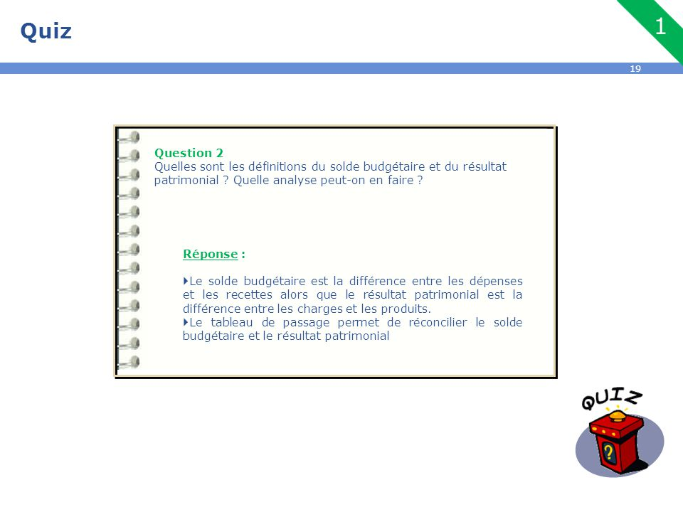 Quiz Question 2. Quelles sont les définitions du solde budgétaire et du résultat patrimonial Quelle analyse peut-on en faire