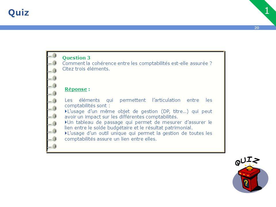 Quiz Question 3. Comment la cohérence entre les comptabilités est-elle assurée Citez trois éléments.