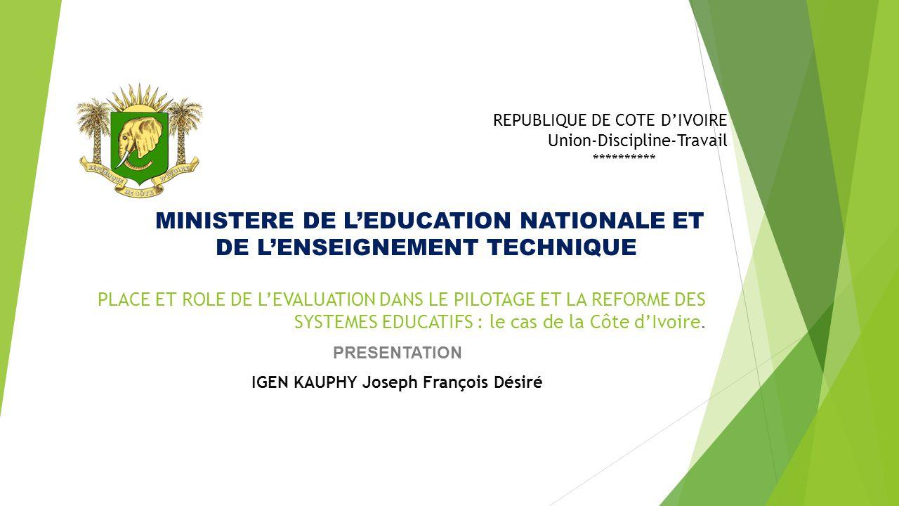 MINISTERE DE L'EDUCATION NATIONALE ET DE L'ENSEIGNEMENT TECHNIQUE