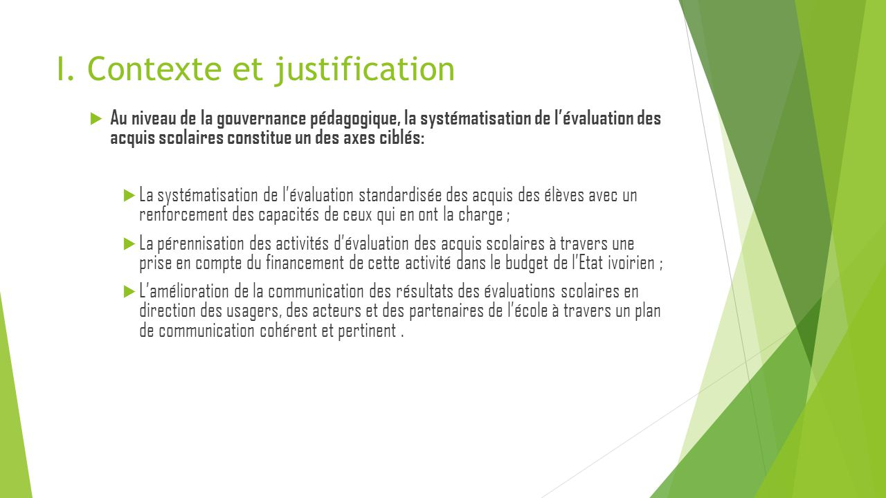 I. Contexte et justification