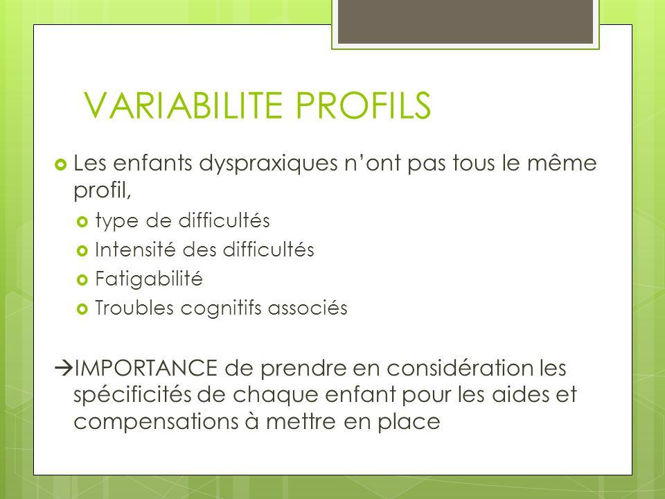 VARIABILITE PROFILS Les enfants dyspraxiques n'ont pas tous le même profil, type de difficultés. Intensité des difficultés.