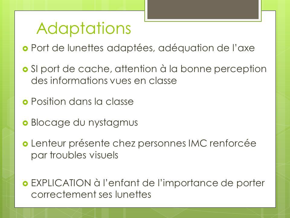 Adaptations Port de lunettes adaptées, adéquation de l'axe