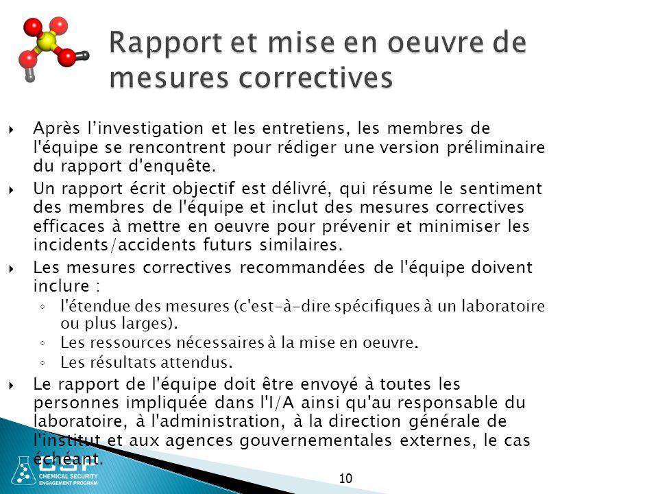 Rapport et mise en oeuvre de mesures correctives