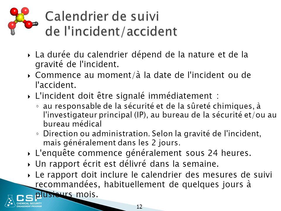 Calendrier de suivi de l incident/accident