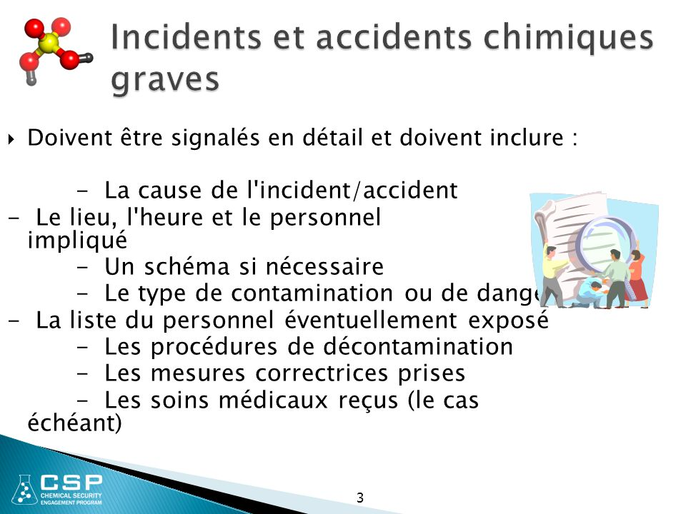 Incidents et accidents chimiques graves