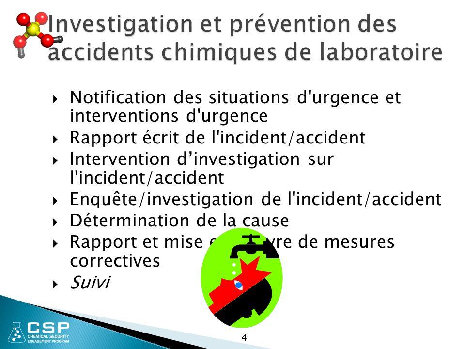 Investigation et prévention des accidents chimiques de laboratoire