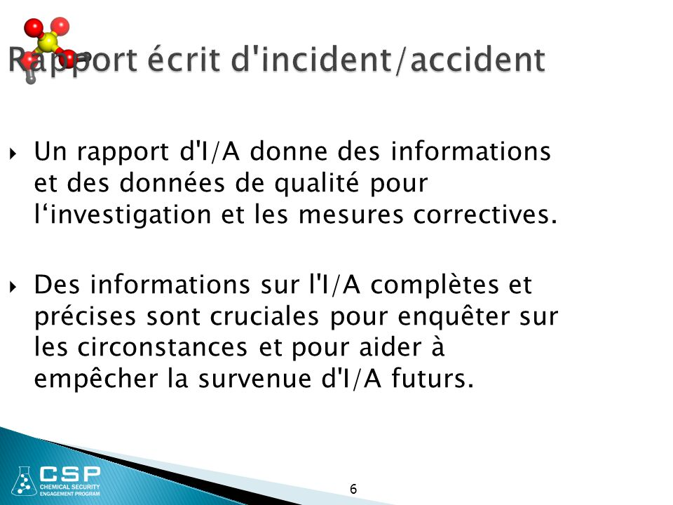 Rapport écrit d incident/accident