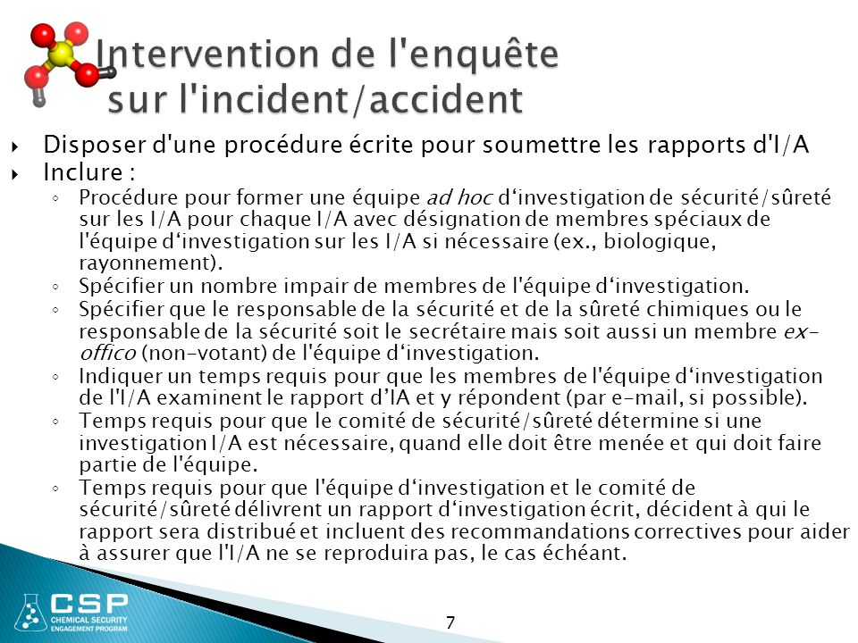 Intervention de l enquête sur l incident/accident