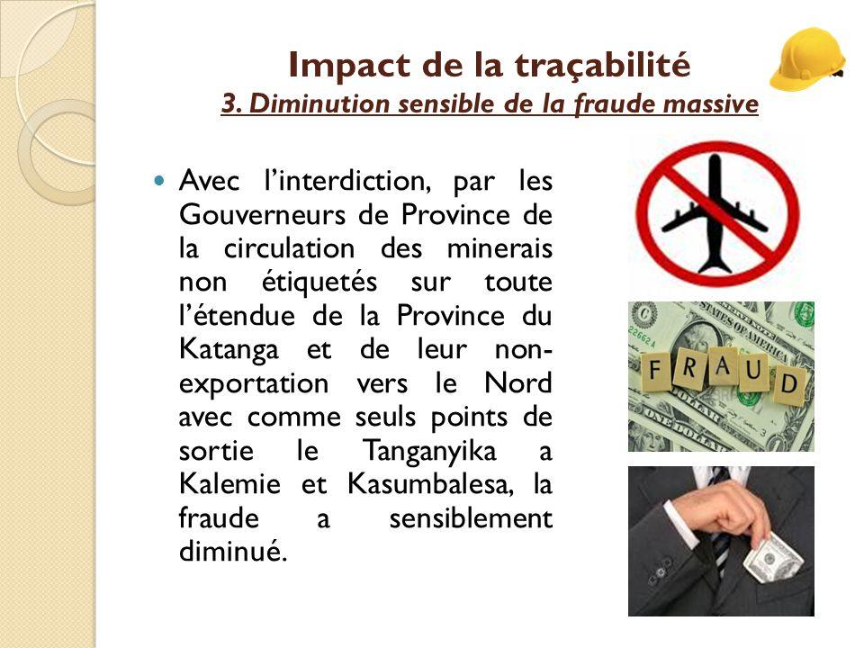 Impact de la traçabilité 3. Diminution sensible de la fraude massive