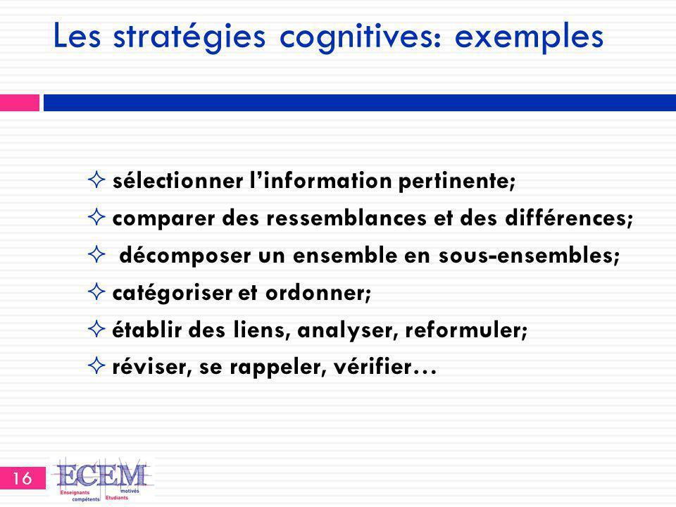 Les stratégies cognitives: exemples