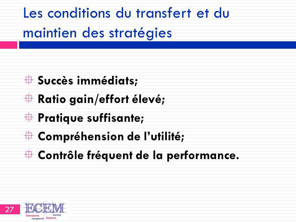 Les conditions du transfert et du maintien des stratégies