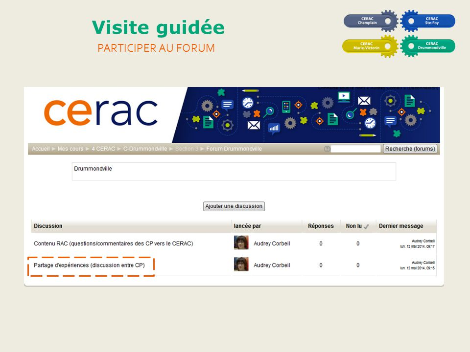 Visite guidée Participer au forum