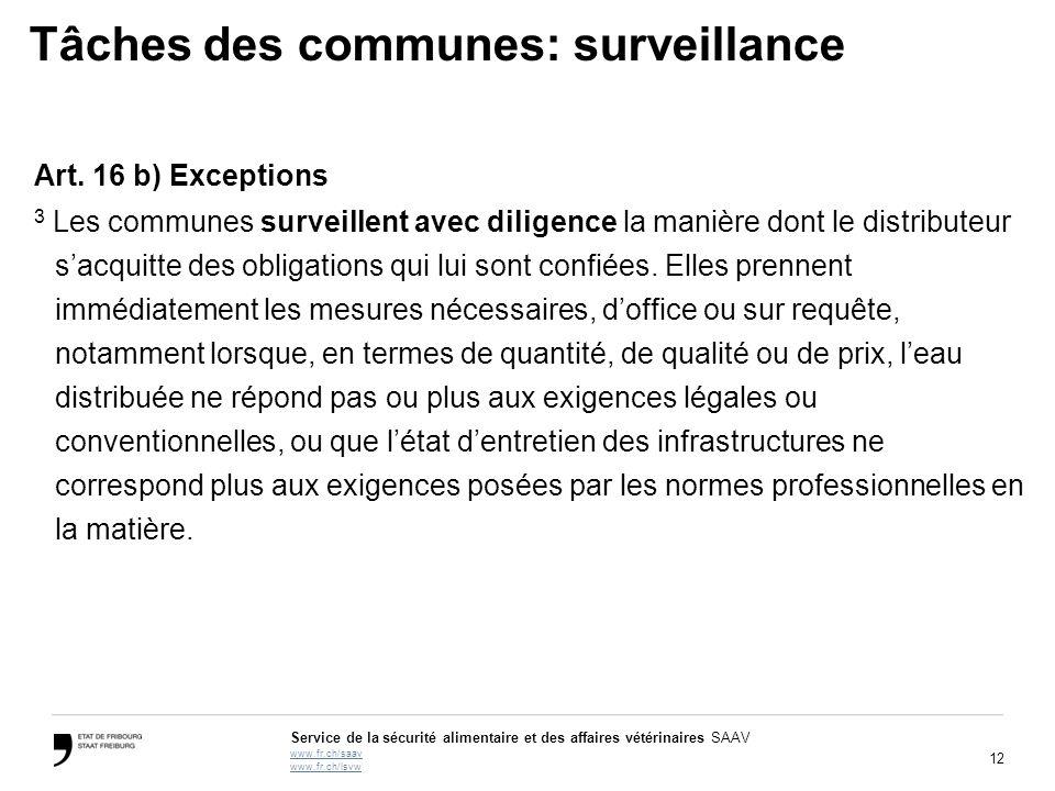 Tâches des communes: surveillance