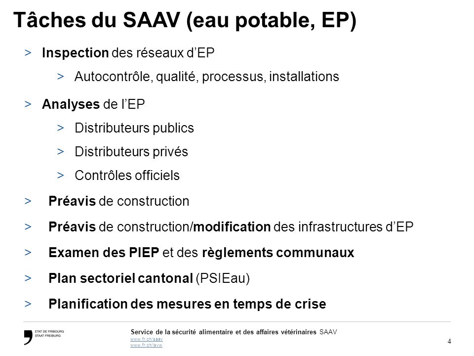 Tâches du SAAV (eau potable, EP)