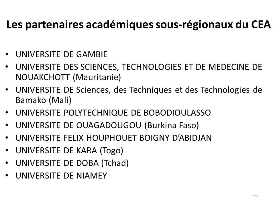 Les partenaires académiques sous-régionaux du CEA