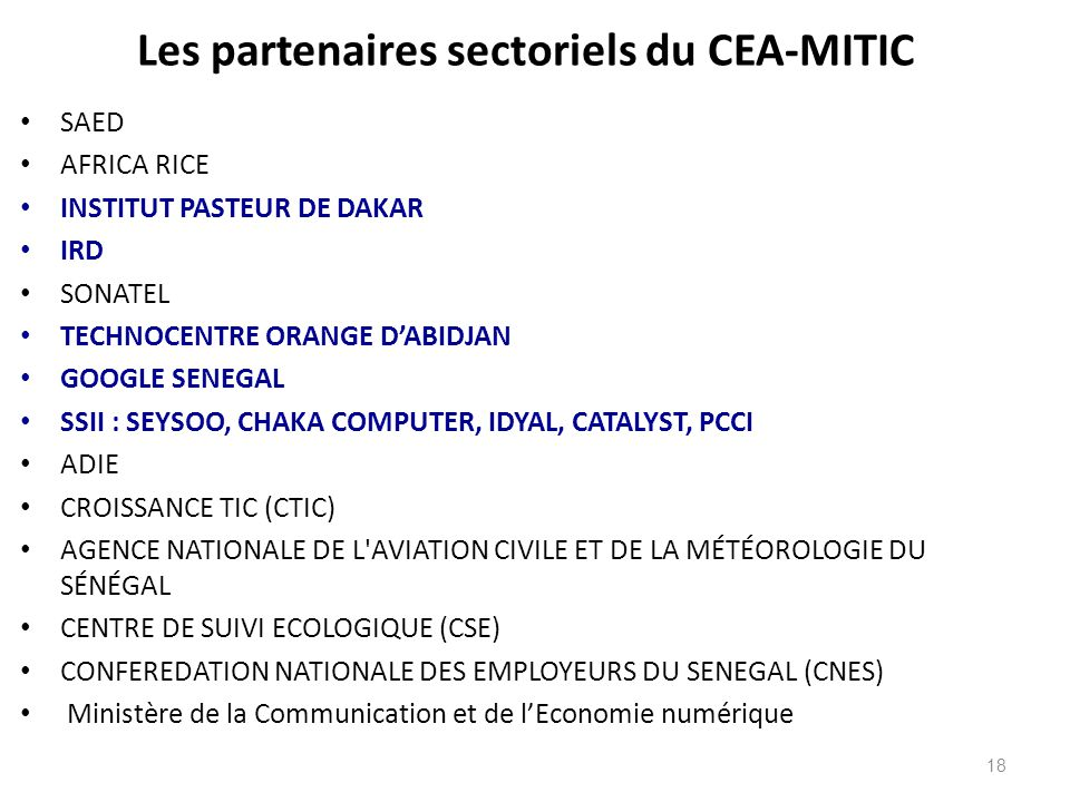 Les partenaires sectoriels du CEA-MITIC