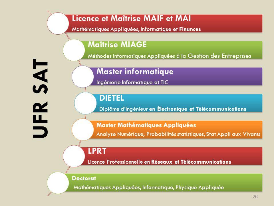 UFR SAT Licence et Maîtrise MAIF et MAI Maîtrise MIAGE