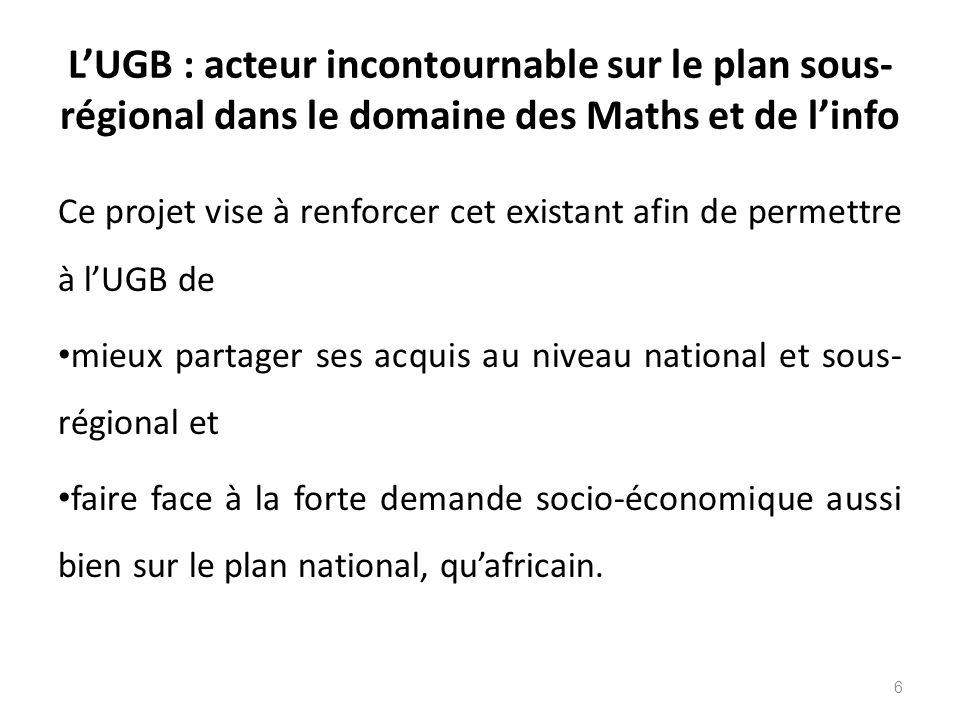 L'UGB : acteur incontournable sur le plan sous-régional dans le domaine des Maths et de l'info
