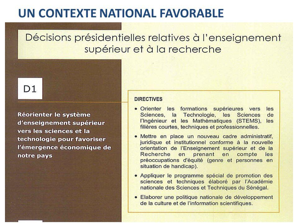 Un contexte national favorable