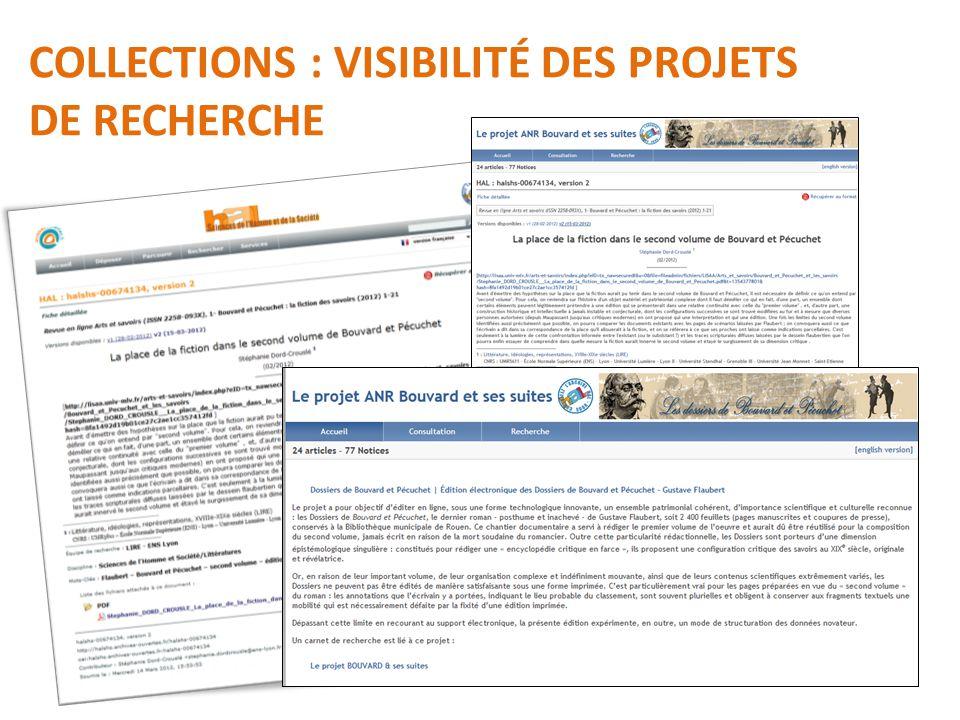 COLLECTIONS : VISIBILITÉ DES PROJETS DE RECHERCHE