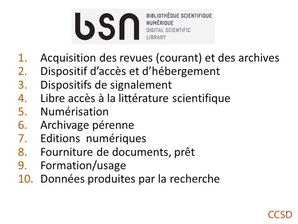Acquisition des revues (courant) et des archives