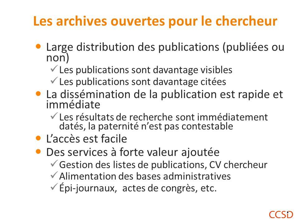 Les archives ouvertes pour le chercheur