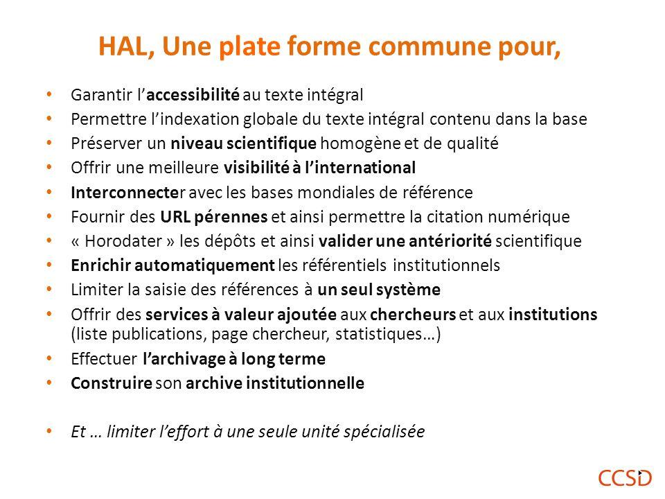 HAL, Une plate forme commune pour,