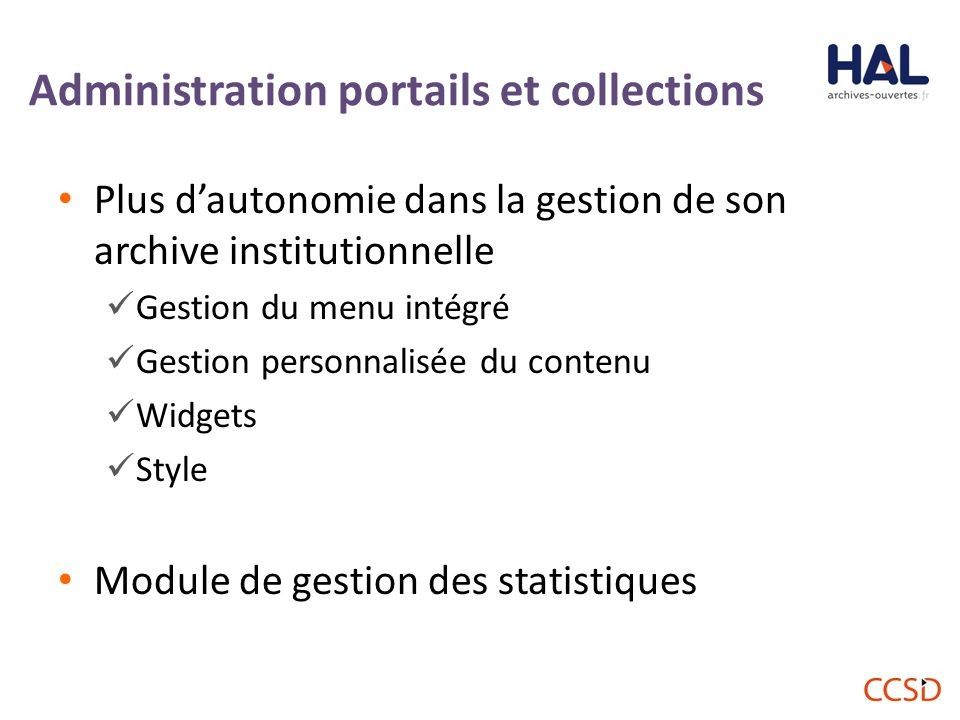 Administration portails et collections