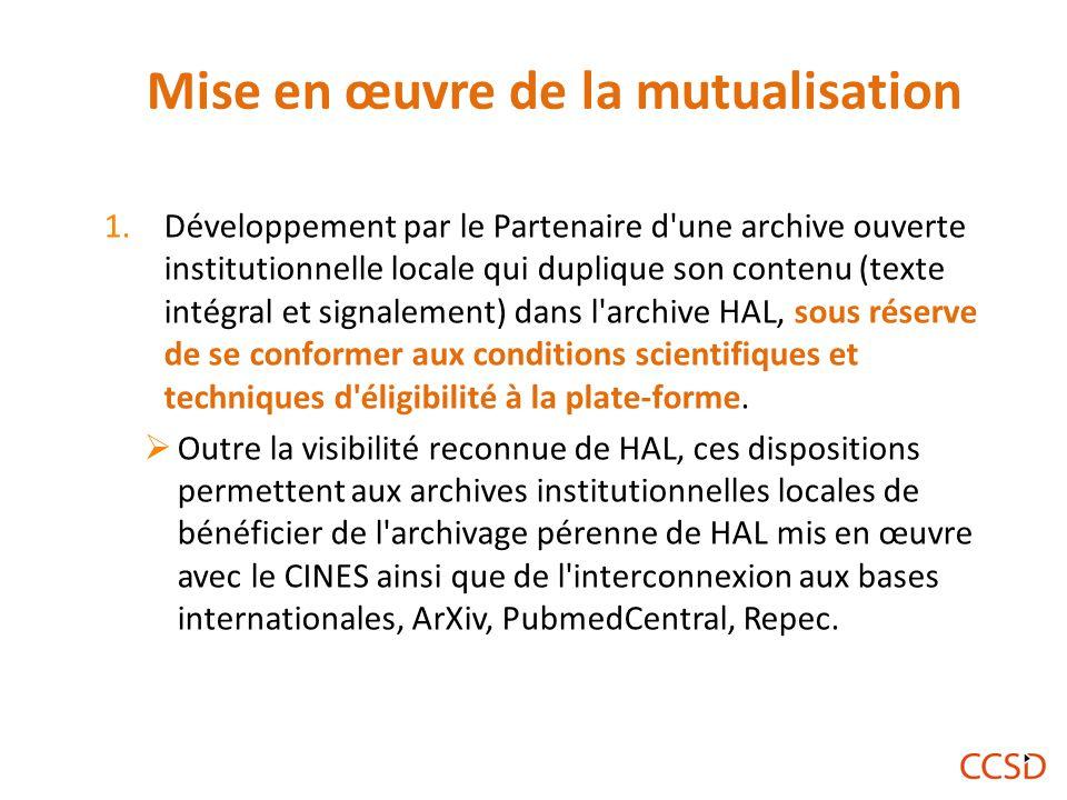 Mise en œuvre de la mutualisation