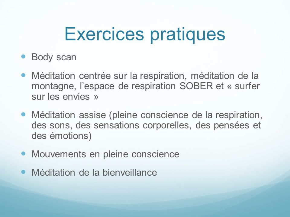 Exercices pratiques Body scan