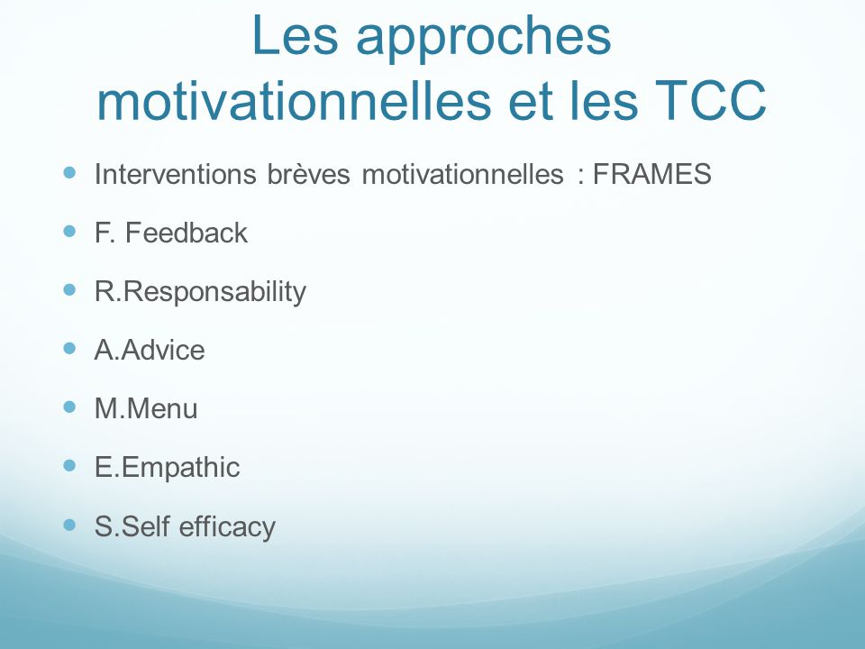 Les approches motivationnelles et les TCC