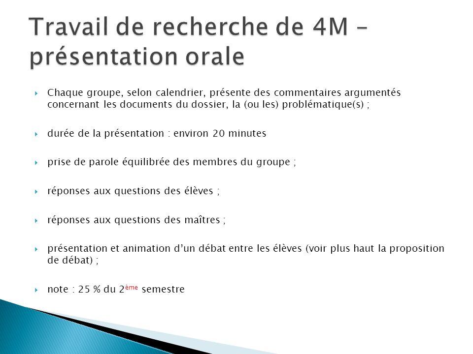 Travail de recherche de 4M – présentation orale