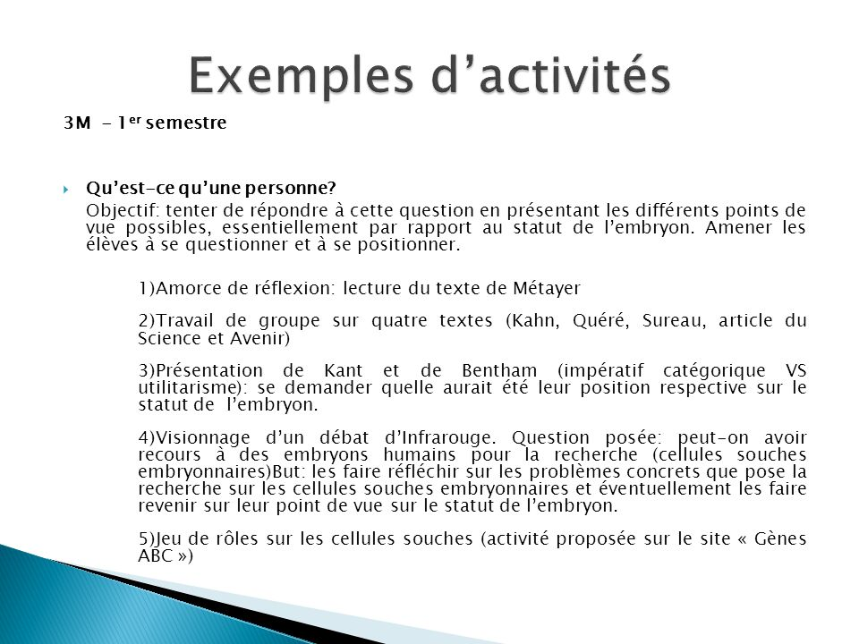 Exemples d'activités 3M - 1er semestre Qu'est-ce qu'une personne