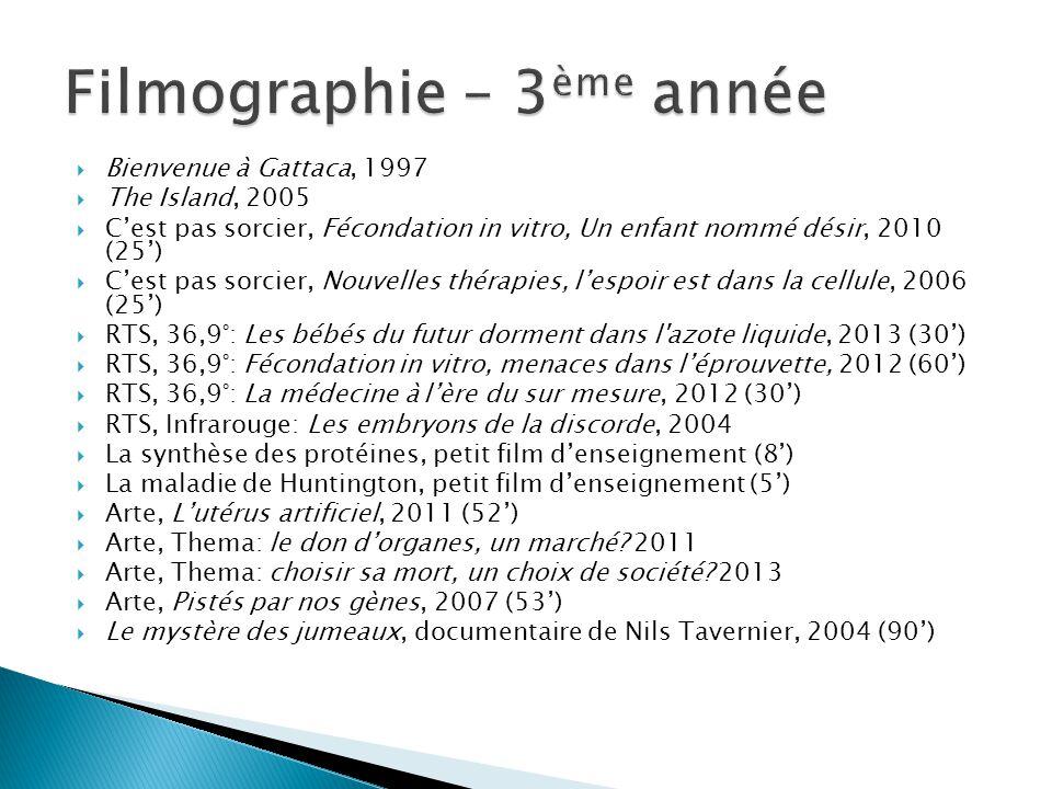 Filmographie – 3ème année