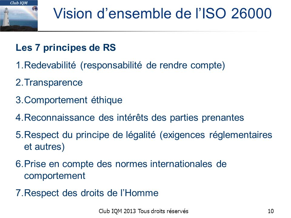 Vision d'ensemble de l'ISO 26000
