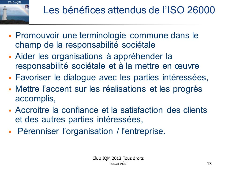 Les bénéfices attendus de l'ISO 26000