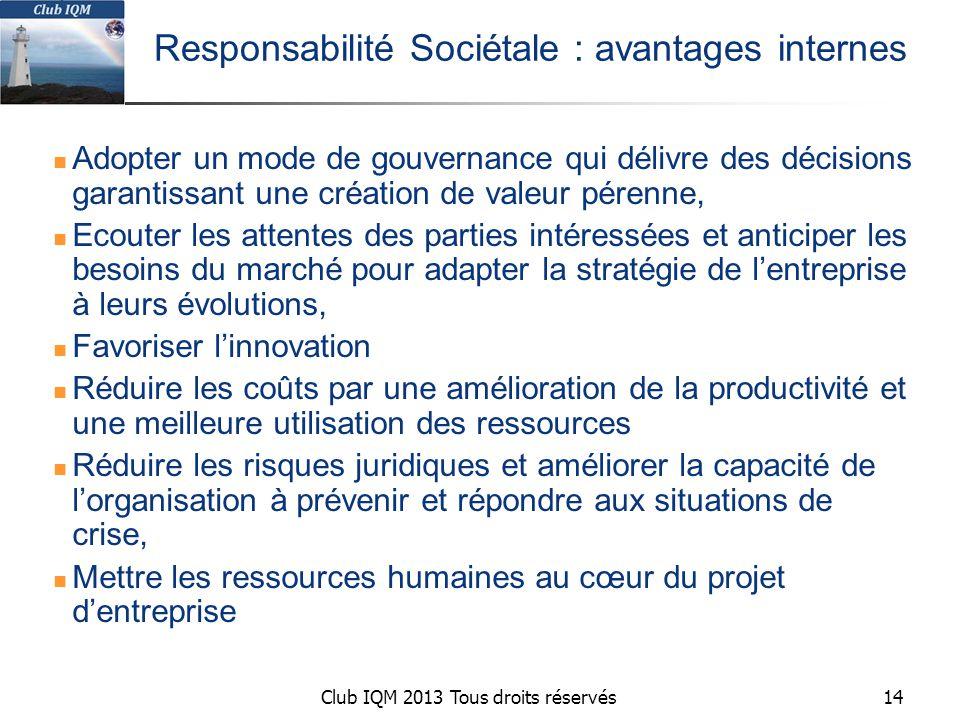 Responsabilité Sociétale : avantages internes