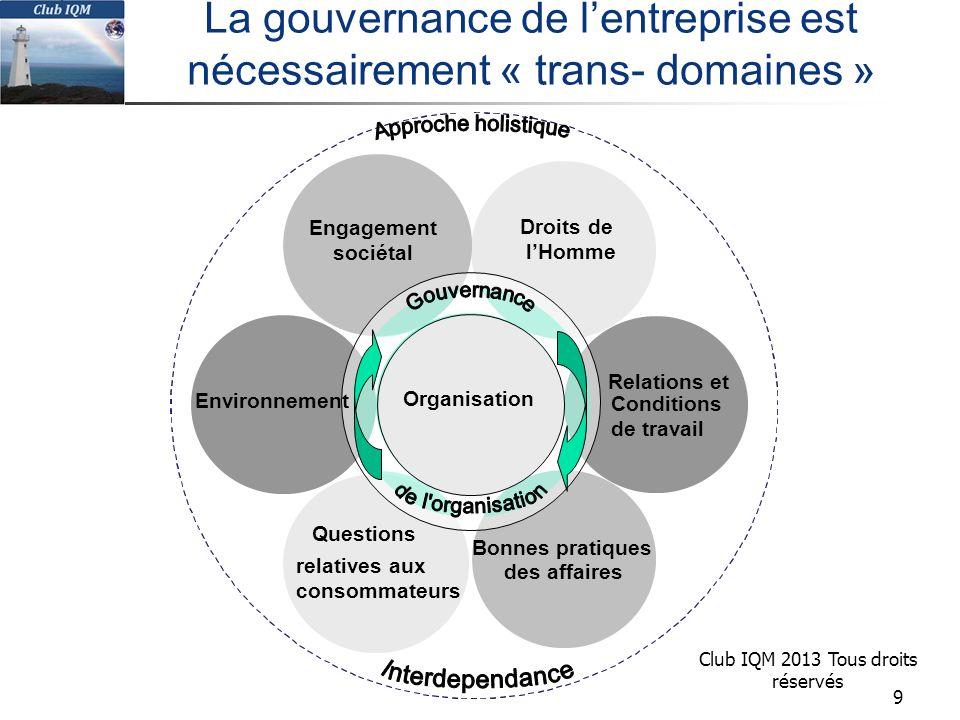 La gouvernance de l'entreprise est nécessairement « trans- domaines »