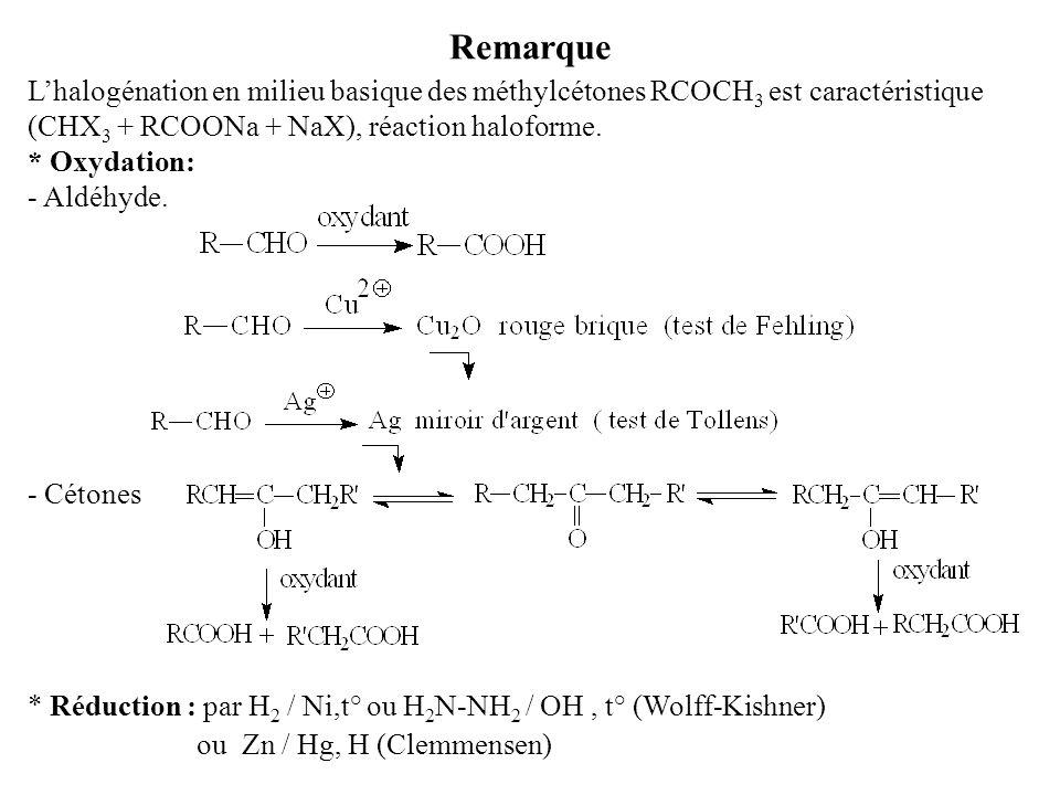 Remarque L'halogénation en milieu basique des méthylcétones RCOCH3 est caractéristique. (CHX3 + RCOONa + NaX), réaction haloforme.