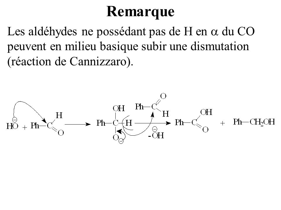 Remarque Les aldéhydes ne possédant pas de H en a du CO peuvent en milieu basique subir une dismutation (réaction de Cannizzaro).