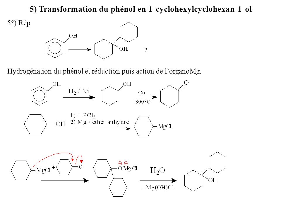 5) Transformation du phénol en 1-cyclohexylcyclohexan-1-ol