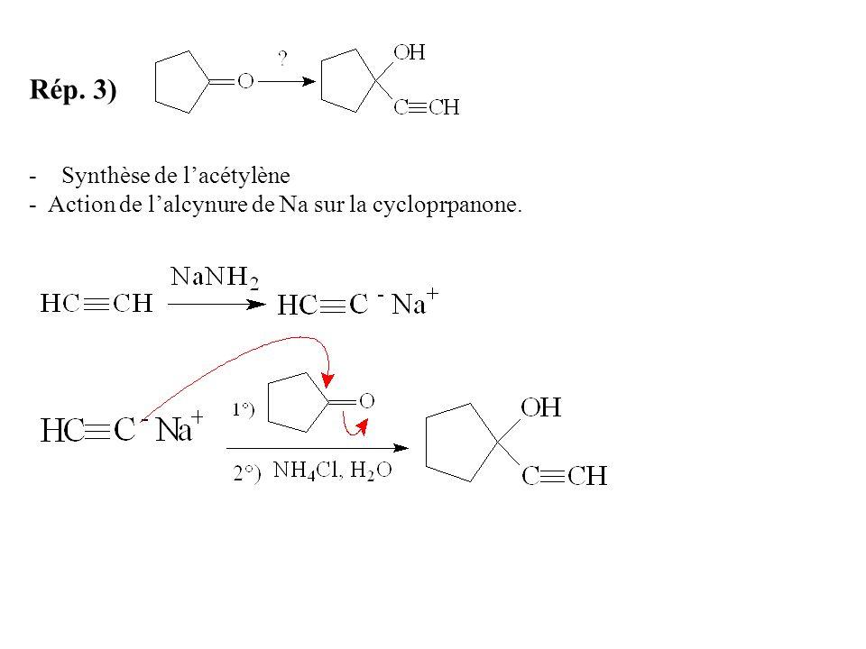 Rép. 3) Synthèse de l'acétylène