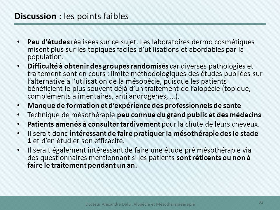 Discussion : les points faibles