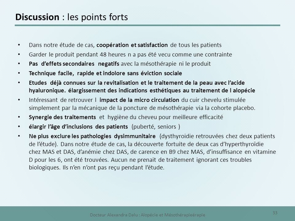 Discussion : les points forts