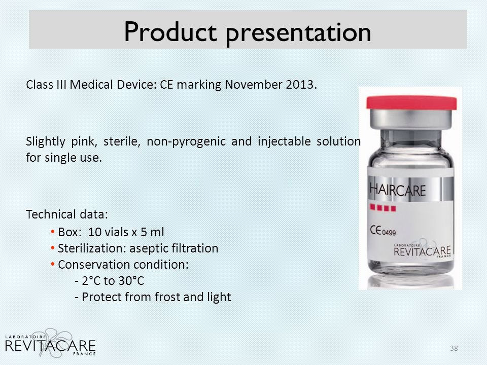 Product presentation Class III Medical Device: CE marking November 2013.
