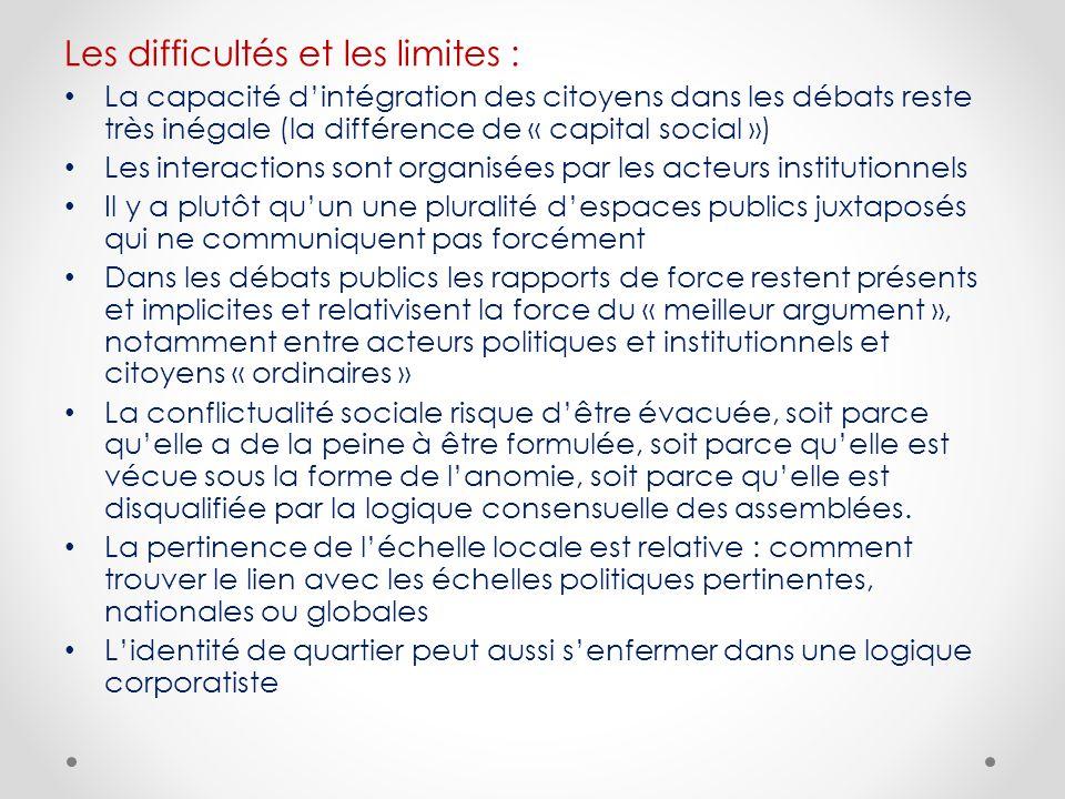 Les difficultés et les limites :